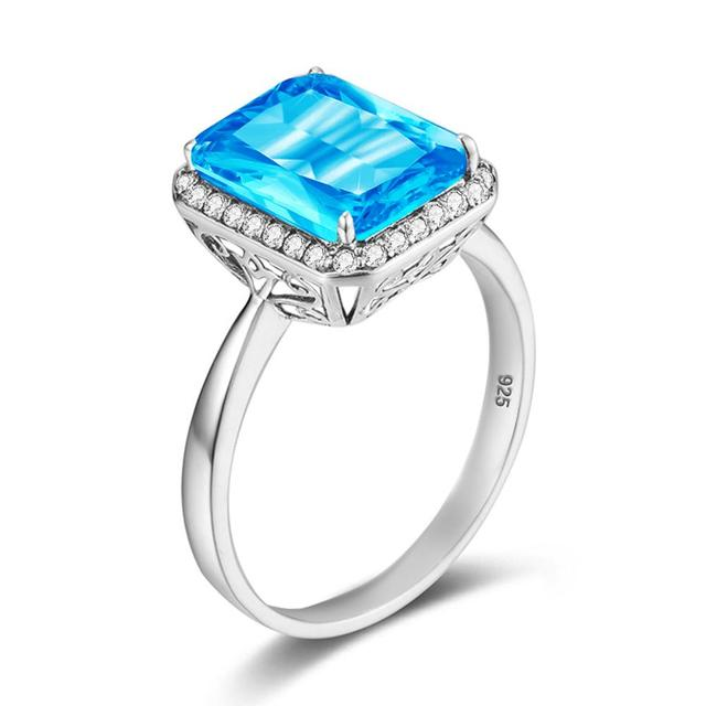 Szjinao Silver 925 Jewelry Rings Woman Blue Toapz Gemstone Square Platinum Cute Engagement Ring Wedding Party Birthstone Gift