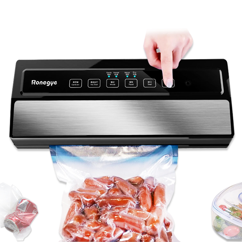 220V 110W Vacuum Sealing Machine Home Best Vacuum Sealer Fresh Packaging Machine Food Saver Vacuum Packer Include 5Pcs Bags Free