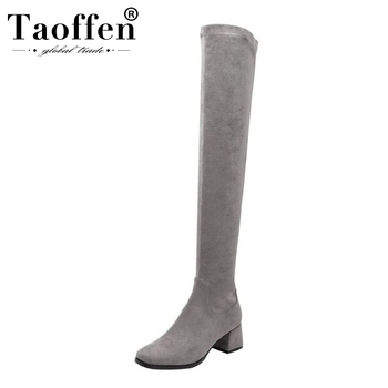 Taoffen Women Square Toe Comfortable Over The Knee Boots Zipper Real Leather Simple Stretch Boots Chunky Heels Botas Size 33-40