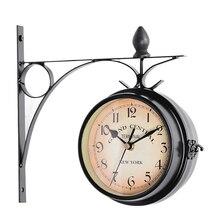 Reloj de pared al aire libre colgante Retro de doble cara alimentado por batería Metal montaje jardín Vintage Café Bar decoración estación redonda