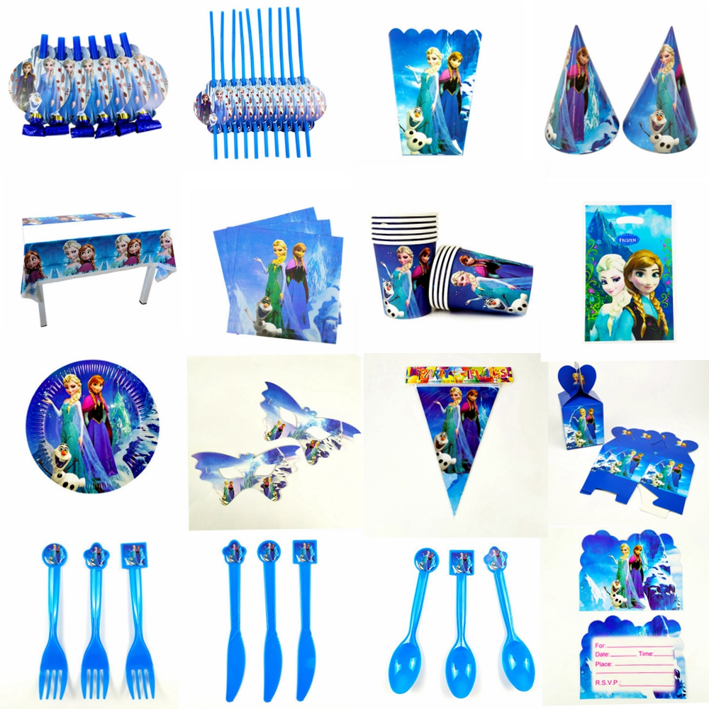 Girl Birthday Party Decoration Kids Disposable Party Tableware Supplies Frozen Party Ice Queen Mask Theme Birthday Decoration