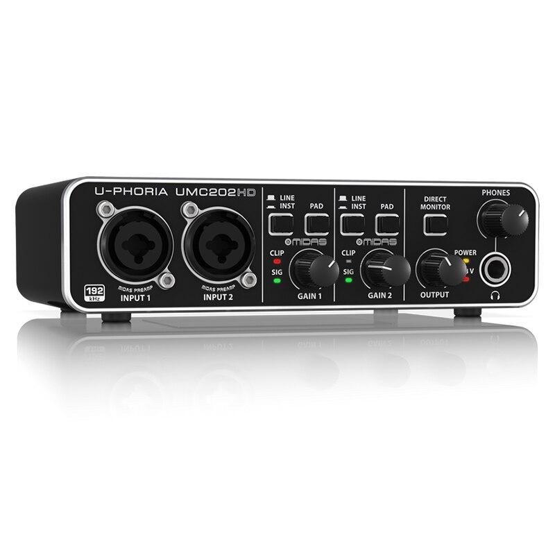 BEHRINGER UMC202HD External Recording Guitar Sound Card Live Mobile Computer Universal