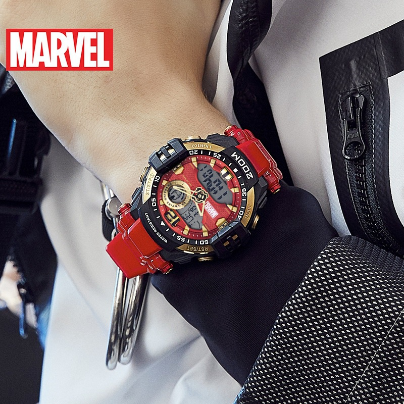 Disney Marvel Dual Display Digital Wristwatch Iron Man Digital Wristwatch Waterproof Movement Boys Watches 20Bar Rubber Alarm
