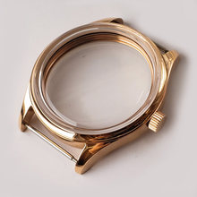 Gold dome glass 42mm polished stainless steel watch case suitable for watch literal 37mm suitable for ETA6497/6498 st3600(China)