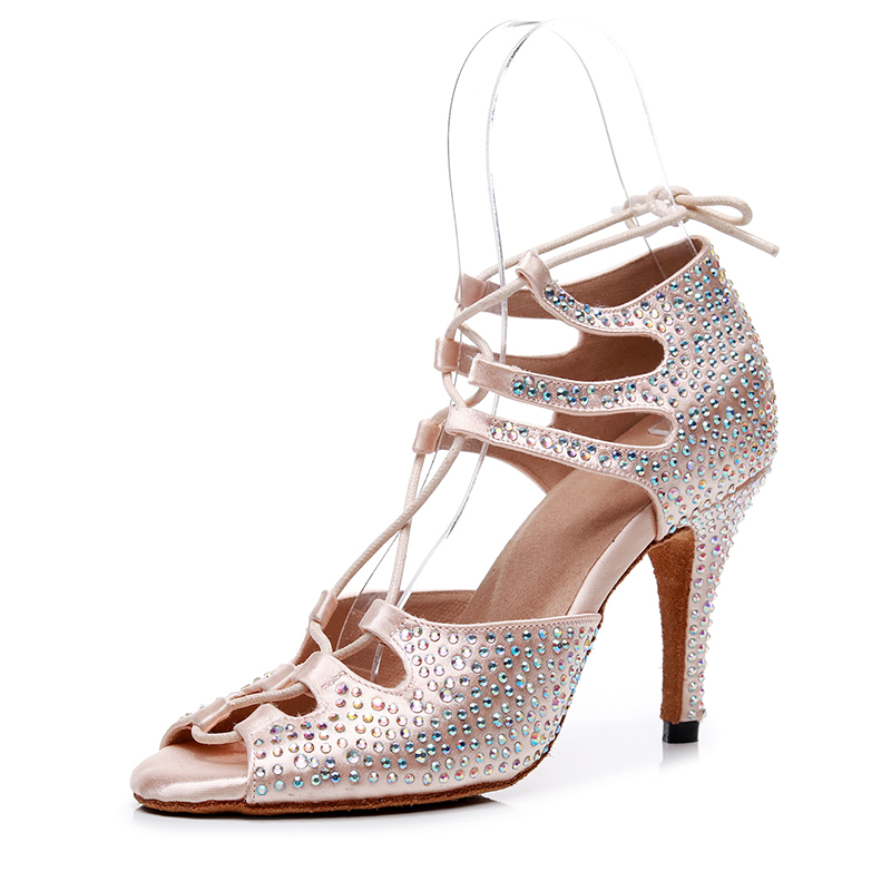 Женская шелковая танцевальная обувь на шнуровке для бальных