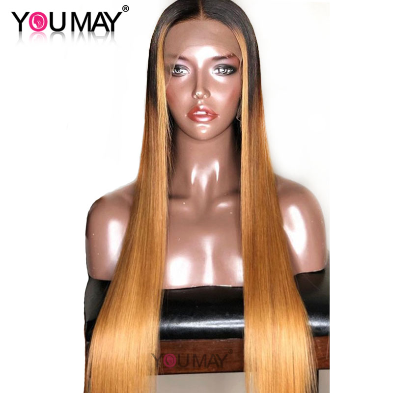 250% 13X6 Lace Front Human Hair Wigs Pre Plucked Baby Hair Highlight Ombre Blonde Straight 360 Lace Frontal Wigs Remy You May