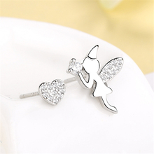 Cute Romantic Angel Elf Wing Asymmetrical Earrings Small Funny Heart 925 Sterling Silver Stud Earrings Women Girl Brincos SE775