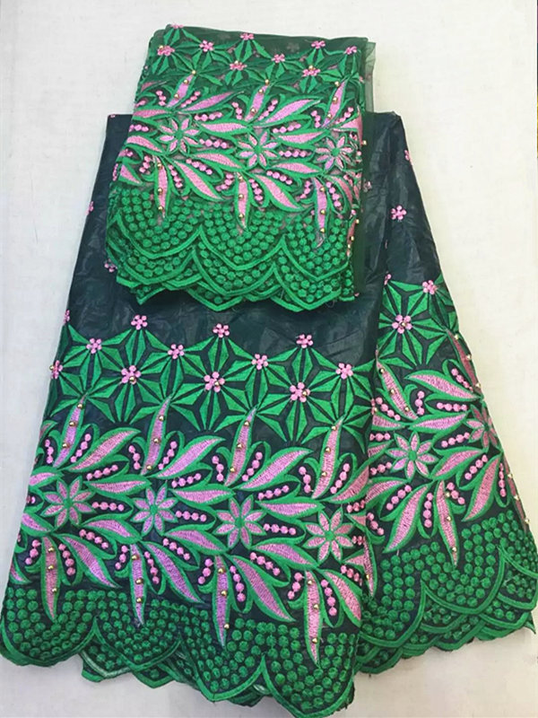 black with green African Bazin cotton fabric 5 yards match 2 yards net lace for one set Promotion price image