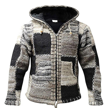 Sweaters Men Winter Fashion Patchwork Knitted Outwear Coat Sweater With Pocket Autumn Hooded Wool Cardigan Jumper