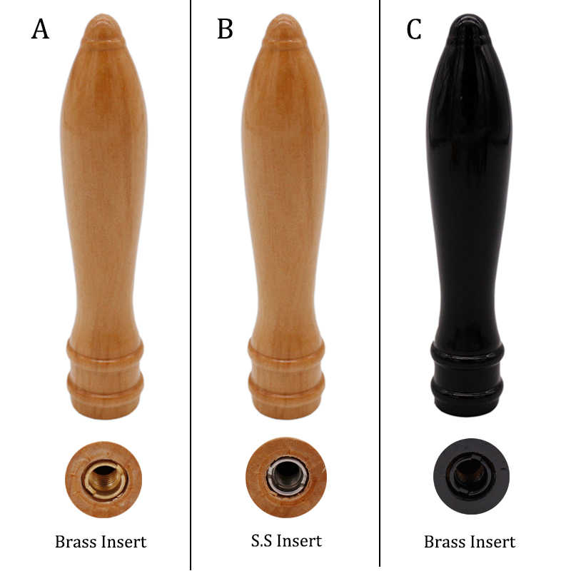 "6"" Wood Pub Style Tap Handle Craft Beer Tap Handle Homebrew Beer Handle include Dual-Threaded Insert"