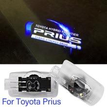 2 pçs led projetor a laser lâmpada fantasma sombra luz porta do carro luz de boas-vindas para toyota prius logotipo bens carro decoração acessórios