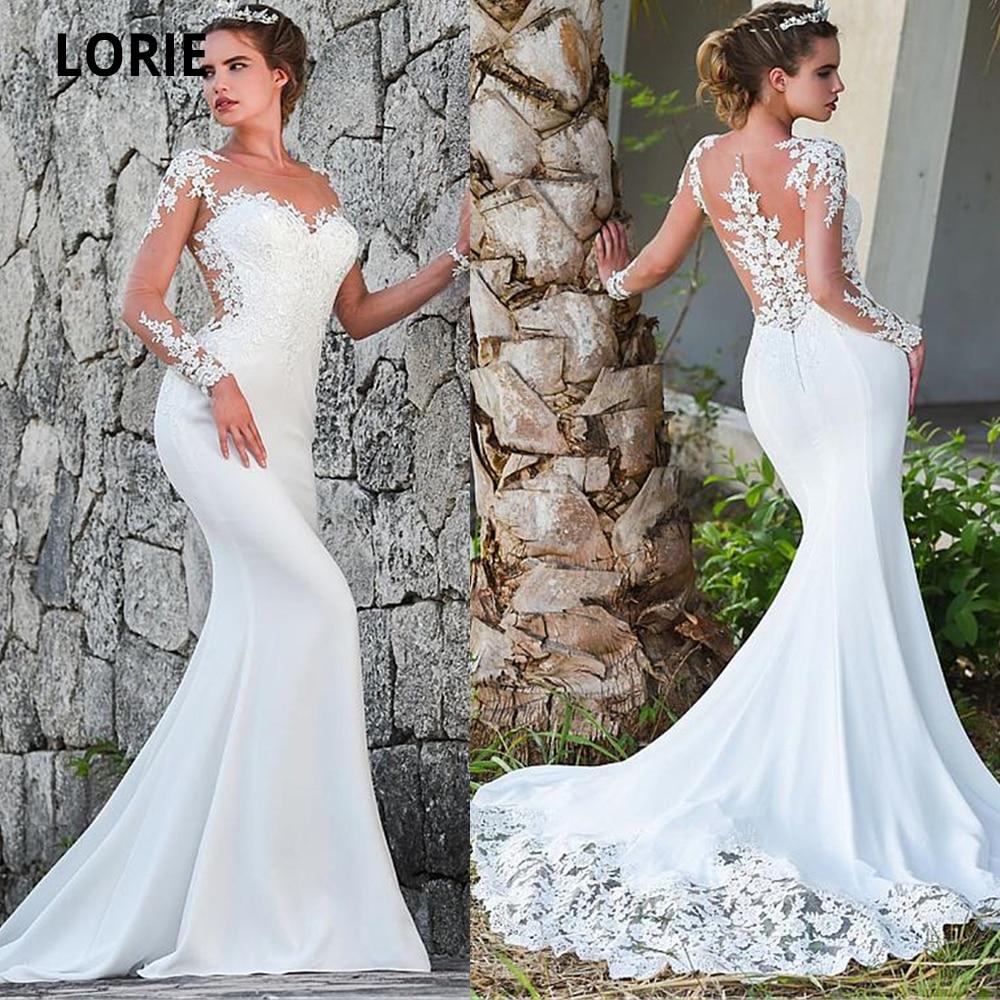 LORIE Mermaid Wedding Dresses 2020 Turkey Appliques Lace Bridal Dress Wedding Long Sleeve Gown Custom Made Sweep Train Plus Size