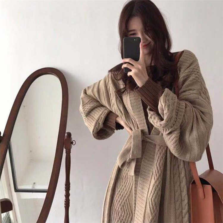 Colorfaith Baru 2019 Musim Gugur Musim Dingin Wanita Jaket Rajut Hangat Gaya Korea Elegan Panjang Kasual Mantel Pakaian Luar Wanita JK1945