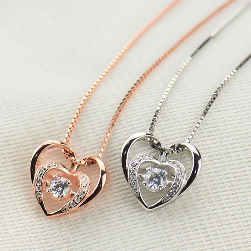 Классическое роскошное ожерелье с подвеской в форме сердца с чистые ювелирные изделия для женщины, девушки, леди