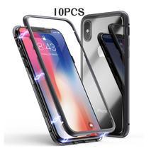 Funda magnética de metal de adsorción para iPhone 11 PRO XS Max XR X 7 6S 8 Plus, cubierta magnética de cristal templado de lujo de aluminio, 10 unids/lote