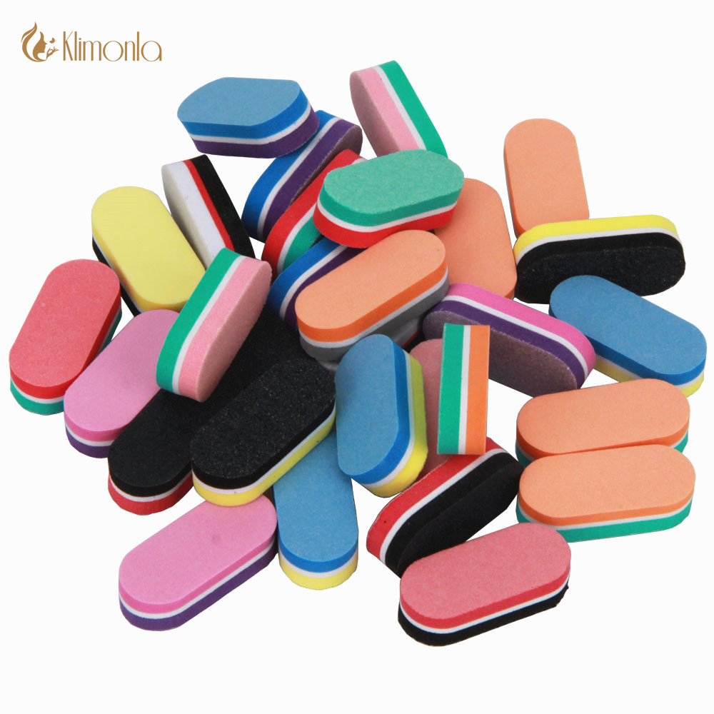 25Pcs/Lot Mini Nail Buffer Block Mix 10 Style Colorful DIY Sponge Professional Nail Polish Manicure Care Nail Art Buffers Tools