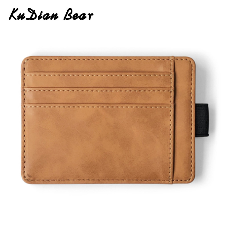 KUDIAN BEAR Men Card Holder PU Leather Credit Card Holder Designer Slim Wallet Short Minimalist Coin Purse Organizer BIH112 PM49