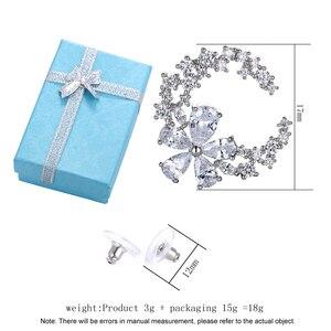 Image 4 - Son tasarım çiçek küpe mizaç basit moda metal kadın dekoratif kristal zirkon küpe kız sevgilisi düğün