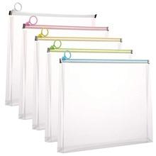 Paper Document Folder-Case File Plastic Clear Zip-Envelopes Assorted-Colors Pioy A4-Size