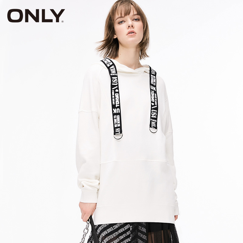 ONLY Womens Loose Fit Letter Braid Mid-length Pullover Sweatshirt Hoodies| 11919S569