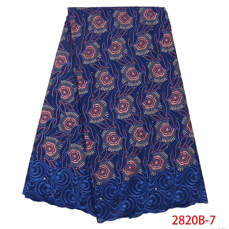 High Quality African Dry Lace Fabric Swiss Voile Lace 2019 Dry Cotton Lace Nigerian Embroidered Laces With Stones KS2820B-7