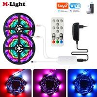 Tuya Wifi Traum farbe WS2811 LED Streifen Kit RGB Led Streifen Licht w/Remote Musik Sync 5050 Adressierbare Digitale LED band Hintergrundbeleuchtung