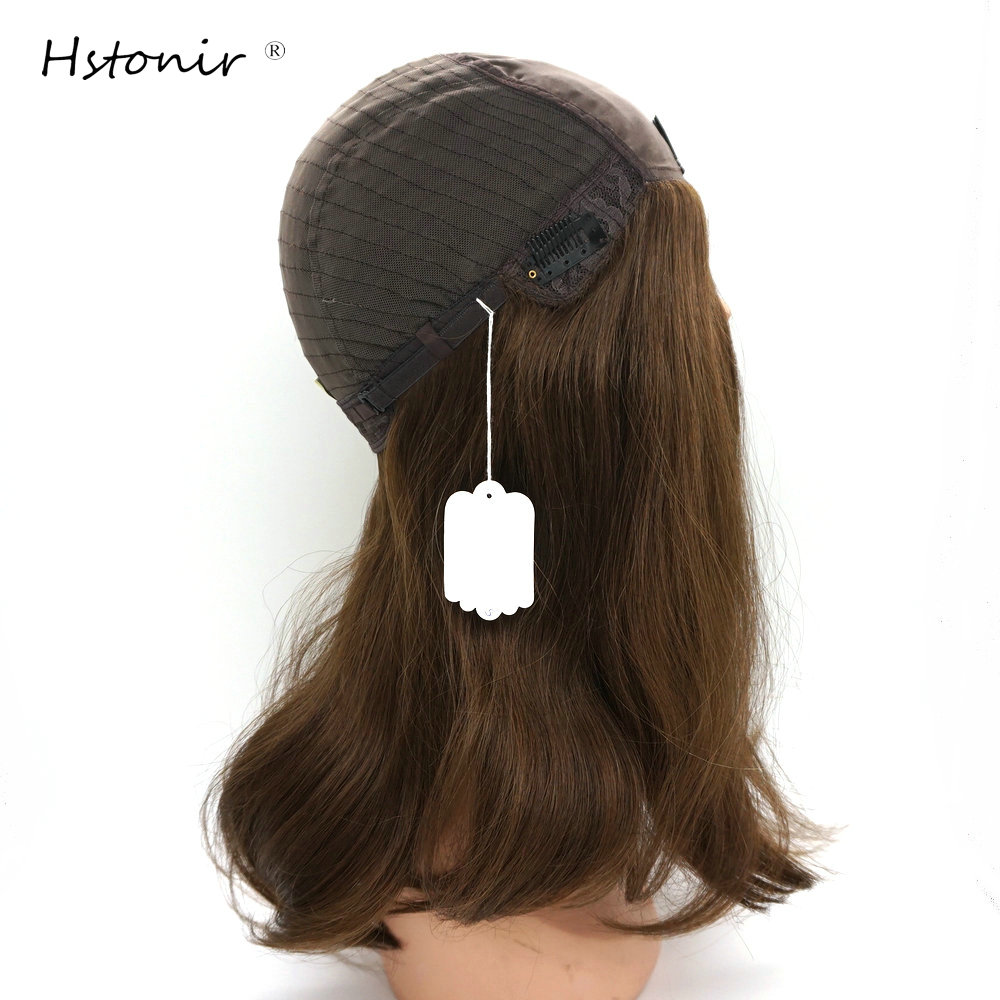 Hstonir Stock Kosher Jewish Wig Brown Blond Straight European Remy Hair Silk Base Hair System For Jew JW03