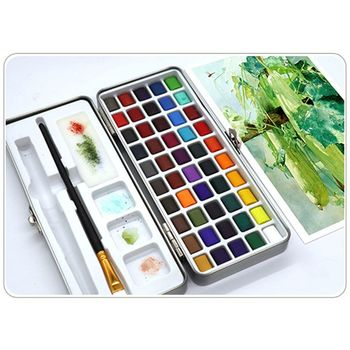 36 colors art solid pigment professional box with paintbrush portable set portable colored pencils for drawing paint watercolors 50 Colors Solid Watercolor Paint Pigment Set Portable for Beginner Drawing Art L41F