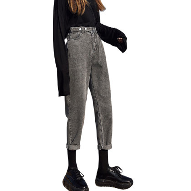 High Waist Jeans Women's Loose 2020 Spring Autumn New Style Was Thin Wild Pants High Waist Straight Harem Pants Tide Trousers