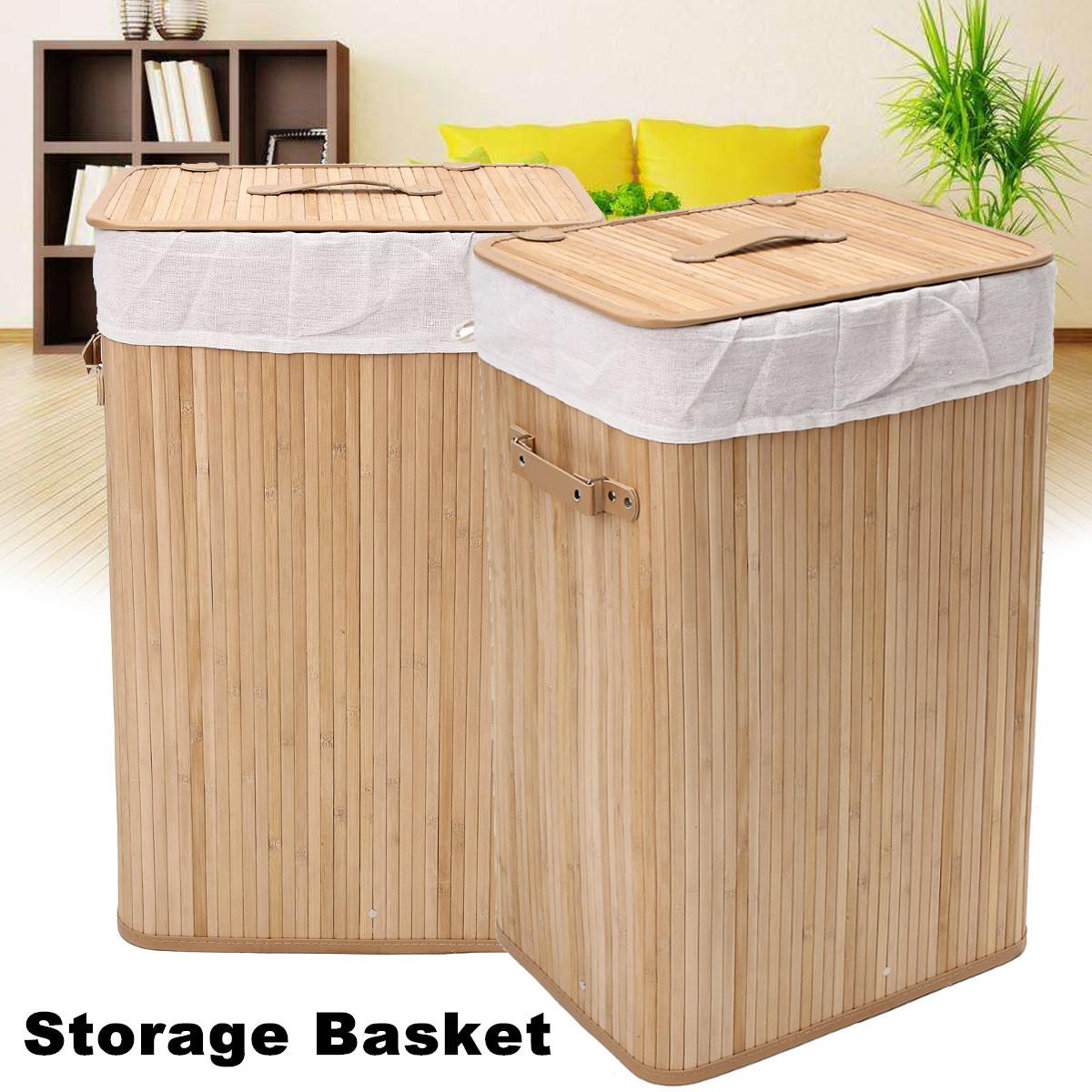 Bamboo Sorter Bin Organizer With Lid Washing Cloth Bin Rangier Lid Laundry Hamper Basket Wicker Clothes Storage Bag
