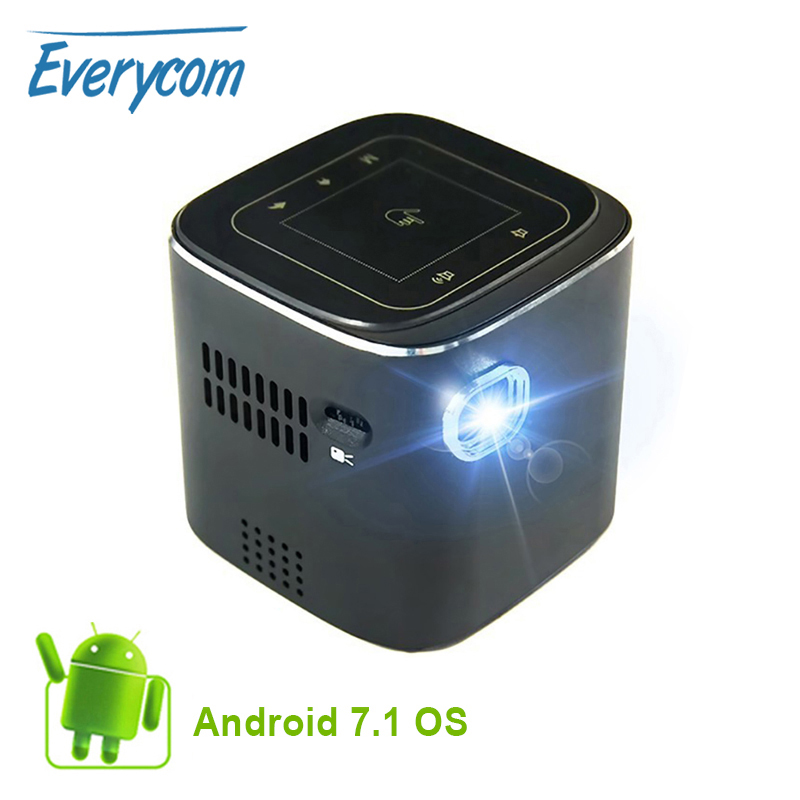 Everycome D019 สนับสนุนโปรเจคเตอร์ขนาดเล็ก Full HD 1920x1080 P DLP แบบพกพา Android 7.1.2 WIFI WIFI Bluetooth LED แบตเตอรี่ home Beamer