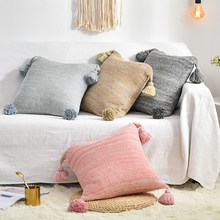 Modern Fashion Knitting Tassel Cushion Cover Casual Office Rest Pillowcases Cotton Pillow Covers Sofa Home Decor Cushion cover(China)