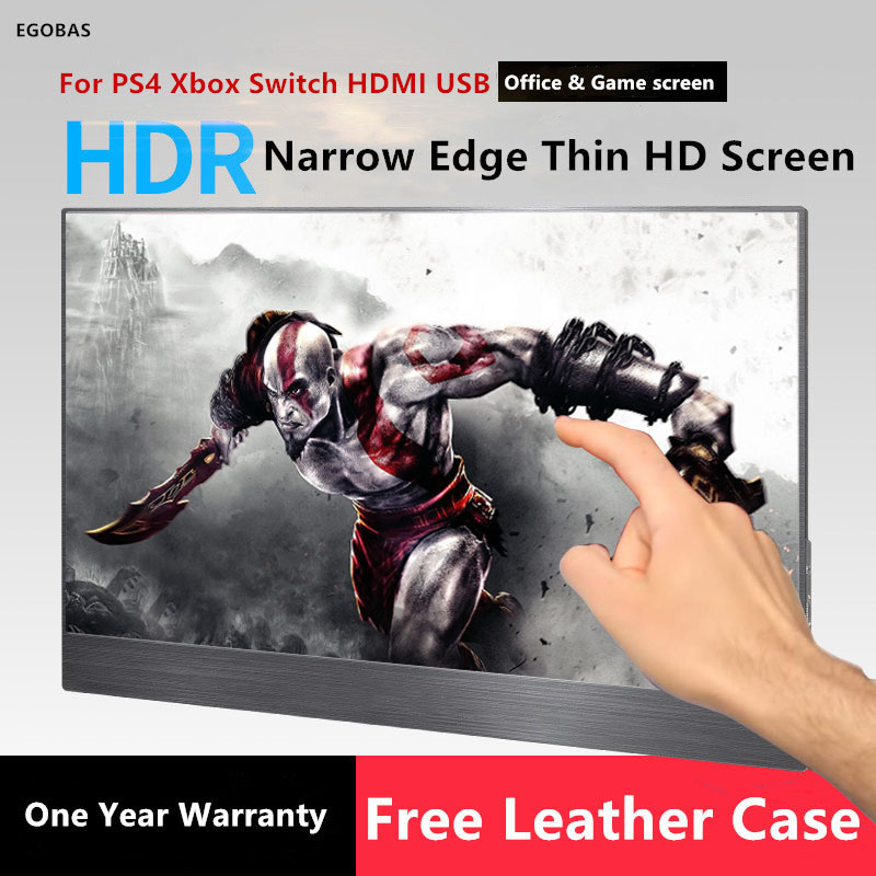 15.6 Inch <font><b>Portable</b></font> <font><b>Monitor</b></font> Touch Screen For PS4 Xbox Switch <font><b>1080P</b></font> IPS Screen Laptop Support Type-C, mini HDMI PC Gamer Silver image