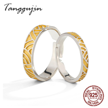 Tanggujin Real Silver Ring 925 Sterling Adjustable Yellow Enamel Couple Wedding Band Rings For Women Men Lovers Jewelry