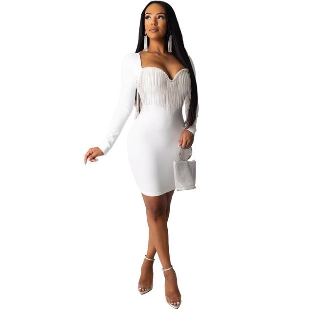 Sexy Crystal Diamonds Tassel Bodycon Evening Party Club Mini Dress Women Elegant Long Sleeve Deep V Neck Dresses Outfit Vestidos 3