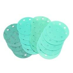 20 sztuk 5 Cal z zielonego piasku poliester papier ścierny 9-otwór na sucho i na mokro papier ścierny zestaw zawiera: 800/1200/1500/2000 żwiru
