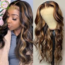 Sterly Выделите парик Цветной парики из натуральных волос на кружевной 13X4x1 613 эффектом деграде (переход от темного к объемная волна кружева пар...