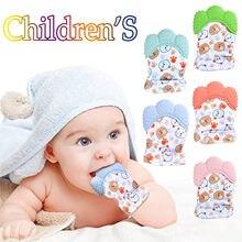 1pc/2 pçs kawaii bebê dos desenhos animados luva em forma de mordedor macio bebê silicone luvas dentição mitten segurança silicone mordedor