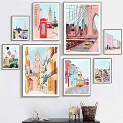 City Viewscape Painting Telephone Booth Canvas Poster Nordic Castle Style Art Print Gallery Wall Decoration Picture