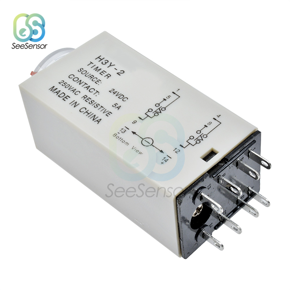 H3Y-2 DC 24V  Delay Timer Time Relay 0-1 Seconds with Base