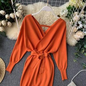 Image 4 - YuooMuoo Herbst Winter Frauen Gestrickte Pullover Kleid 2020 Neue Koreanische Lange Batwing Sleeve V ausschnitt Elegante Kleid Damen Verband Kleid