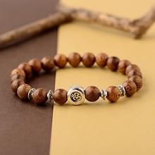 2019 Classic OM Buddhist 8mm Wood Beads Bracelet Men Homme Ethinc Tibetan Bileklik Mala Prayer Bracelet Yoga For Women