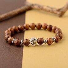 2019 Classic OM Buddista 8 millimetri di Legno Perline Braccialetto Uomini Homme Etnico Tibetano Bileklik Mala di Preghiera Braccialetto di Yoga Per Le Donne
