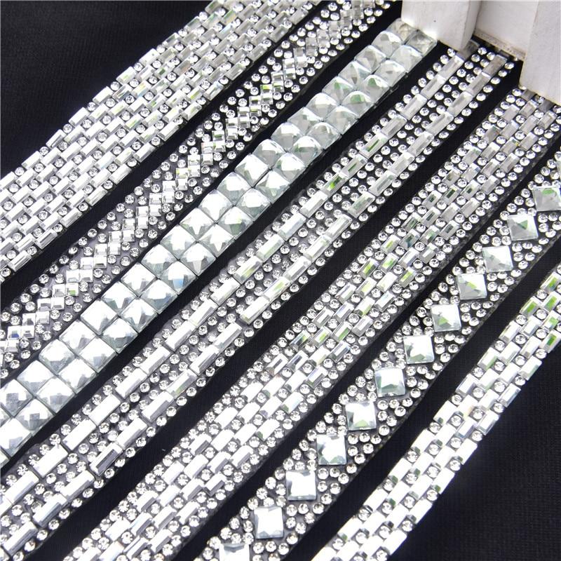 2Yard Rectangle Clear Glass Hotfix Rhinestones Chain Trim Strass Crystal Banding Mesh Bridal Crystal Appliques For Wedding Dress