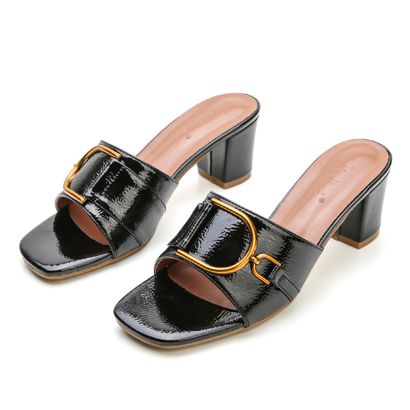Women Slippers Black Leather Slides Block Heels Square Toe Flip Flops Ladies Summer Shoes Woman Sandals Zapatos De Mujer JJ01