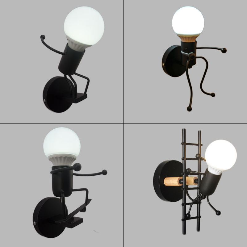 simplicity matchstick man Cartoon wall light Children's room kitchen dining room bed room foyer study balcony aisle Wall Lamp