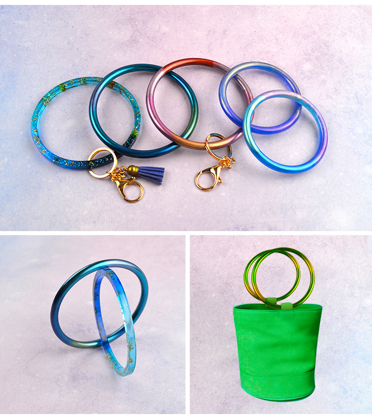 1PC Soft Silicone Jewerly Mould Epoxy Bracelet Bangle Key Chain Mold Hand Resin Craft Jewelry Making Mold Bag Handle