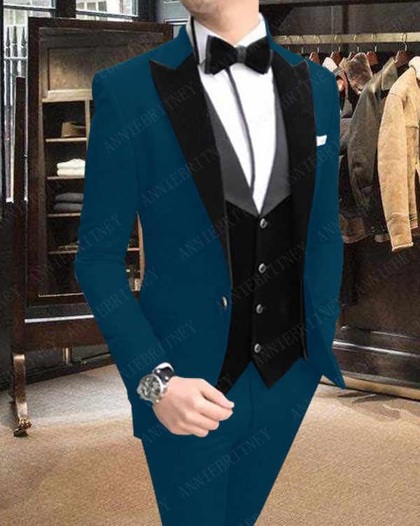 ANNIEBRITNEY フォーマルスーツの男性新郎タキシードメンズ結婚式ウェディングスーツスリムフィットカスタムビッグサイズブレザージャケットパンツベストセット 2019