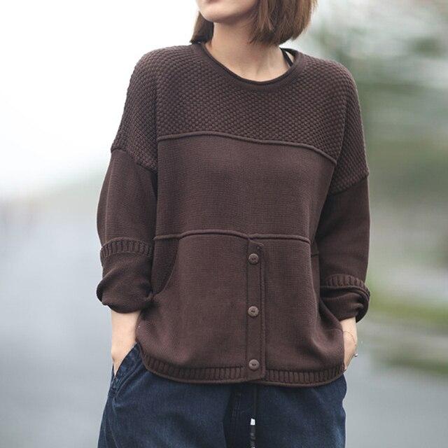 Johnature suéteres de punto de manga larga para mujer, jerseys holgados con cuello redondo para otoño e invierno, jerséis que combinan con todo, 2020