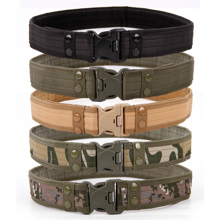 New Army Style Combat   Belts   Quick Release Tactical   Belt   Fashion Men Canvas Waistband Outdoor Hunting 5Colors 130cm 2019